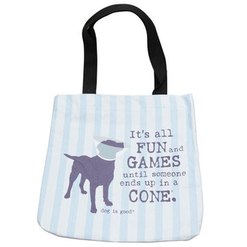 Dog is Good Its All Fun and Games Lined Tote