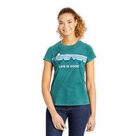 Life is Good Women's Retro Mountain Stripe Textured Slub Short-Sleeve T-Shirt