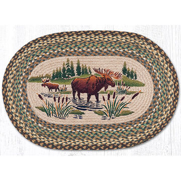 Capitol Earth Oval Patch Moose Wading Rug