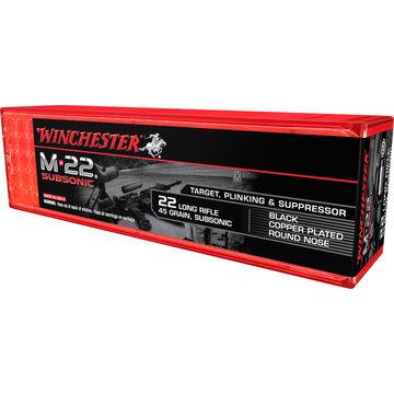 Winchester M-22 Subsonic 22 LR 45 Grain Black Copper-Plated RN Rimfire Ammo (100)
