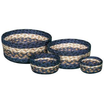 Capitol Earth Light & Dark Blue/Mustard Braided Table Basket Set