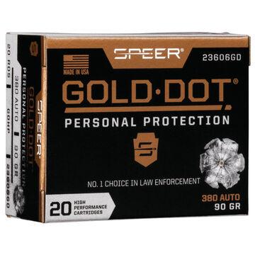 Speer Gold Dot Personal Protection 380 Auto 90 Grain HP Handgun Ammo (20)