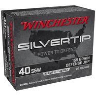 Winchester Silvertip 40 Smith & Wesson 155 Grain Defense JHP Handgun Ammo (20)