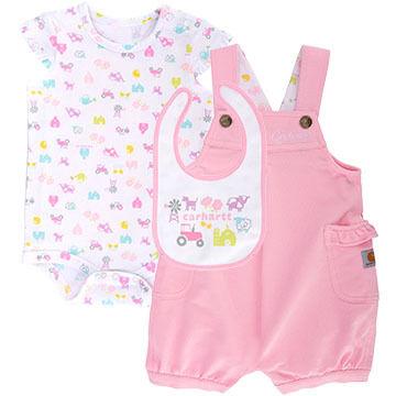 Carhartt Infant/Toddler Girls' Farm Shortall Gift Set, 3pc