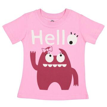 Doodle Pants Toddler Girls Pink Monster Short-Sleeve T-Shirt
