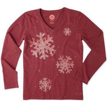 Life is Good Womens Snowflake Tiny Hearts Long-Sleeve Crusher Vee T-Shirt