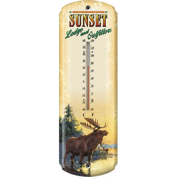 Rivers Edge Moose Lodge Tin Thermometer