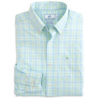 Southern Tide Men's Oyster Lake Plaid Intercoastal Performance Sport Long-Sleeve Shirt