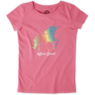 Life is Good Girls' Rainbow Unicorn Crusher Short-Sleeve T-Shirt
