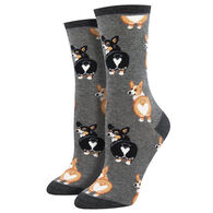 Socksmith Design Women's Corgi Butt Crew Sock