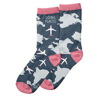 Karma Women's Going Places Airplanes Crew Sock