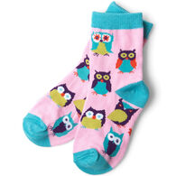Hatley Girl's Little Blue House Party Owl Crew Sock