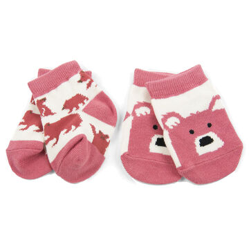 Hatley Infant Girls Little Blue House Pink Bears on Natural Baby Sock, 2-Piece