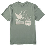 Life is Good Men's Peace, Love, Music Dove Crusher-Lite Short-Sleeve T-Shirt