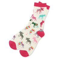 Hatley Little Blue House Women's Patterned Moose Crew Sock