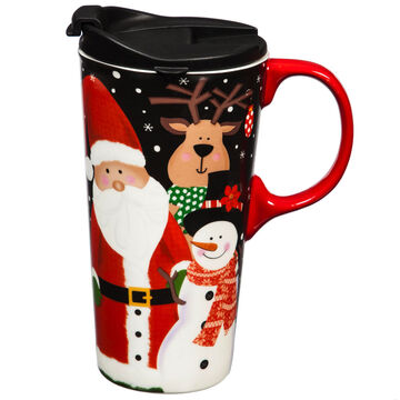 Evergreen Santa and Friends Ceramic Travel Cup w/ Lid