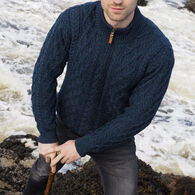 Aran Crafts Men's Donegal Half-Zip Aran Sweater