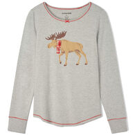 Hatley Little Blue House Women's Moose On Grey Stretch Jersey Sleep Long-Sleeve Top