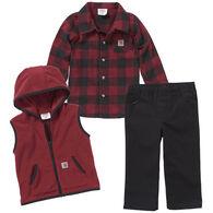 Carhartt Infant Boy's Flannel/Vest 3-Piece Set