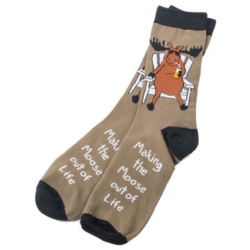 Hatley Little Blue House Mens Making The Moose Out Of Life Crew Sock
