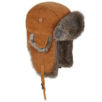 Crown Cap Mens Calf Split Crown Rabbit Trimmed Aviator