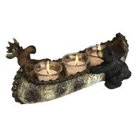 Rivers Edge Bear and Moose w/ Birch Canoe Candle Holder