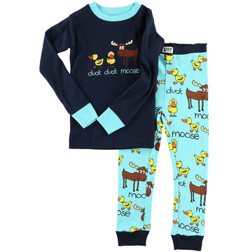 Lazy One Boys' Duck Duck Moose Blue PJ Set