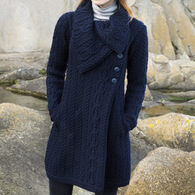 Aran Crafts Women's Large Collar Coat Irish Sweater