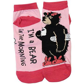 Lazy One Womens Bear Morning Slipper Sock