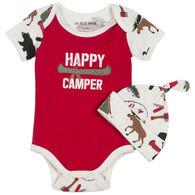 Hatley Infant Boy's Little Blue House Happy Camper Baby Bodysuit With Hat
