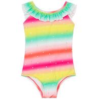 Hatley Toddler Girl's Shimmer Rainbow Ruffle Sleeve Swimsuit