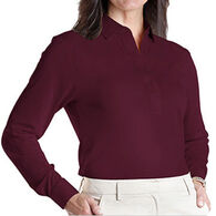 Leon Levin Women's Classic Solid Polo Long-Sleeve Shirt