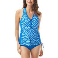 Beach House - Swimwear Anywear Women's Diamond Daze Erinna Racerback Zip Front Tankini Swimsuit Top