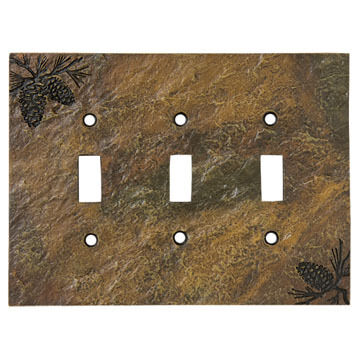 Big Sky Carvers Pinecone Triple Switch Plate Cover