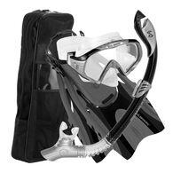 U.S. Divers Starbuck LX Mask + Paradise Dry LX Snorkel + Hingeflex Fin Set w/ Travel Bag