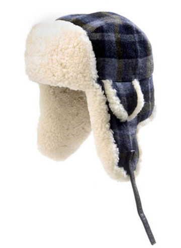Crown Cap Men's Wool Plaid Shearling Aviator