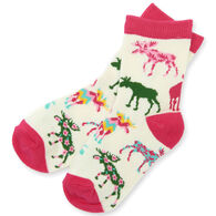Hatley Girl's Little Blue House Patterned Moose Crew Sock