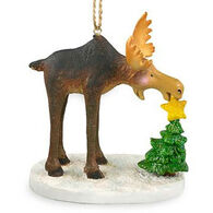 Cape Shore Resin Moose Putting Star on Tree Ornament
