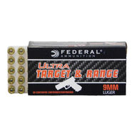 Federal Ultra Target & Range 9mm 115 Grain FMJ Handgun Ammo (50)
