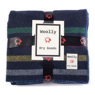Woolly Navy & Multi Color Stripe Reversible Blanket