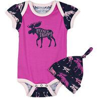 Hatley Infant Girl's Little Blue House Cottage Moose Baby Bodysuit With Hat