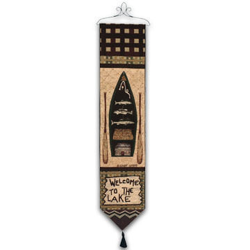 Manual Woodworkers & Weavers Big Bear Lodge/Welcome To The Lake Tapestry Bellpull
