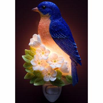 Ibis & Orchid Design Bluebird On Cherry Blossom Nightlight