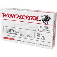 Winchester USA White Box 223 Remington 55 Grain FMJ Rifle Ammo (20)