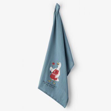 Hatley Little Blue House Get The Duck Out Of My Kitchen Tea Towel