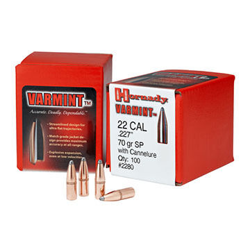"""Hornady Varmint 22 Cal. 55 Grain .224"""" SP w/ Cannelure Rifle Bullet (100)"""