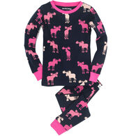 Hatley Girls' Raspberry Moose PJ Set