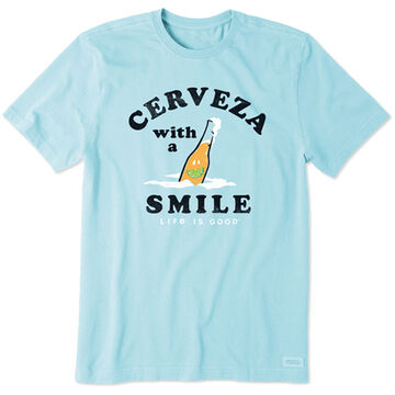 Life is Good Mens Cerveza With A Smile Crusher-Lite Short-Sleeve T-Shirt