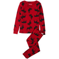 Hatley Youth Moose On Red Pajama Set