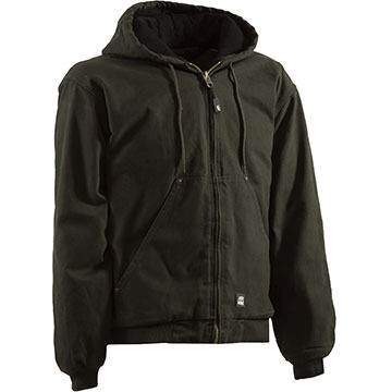 Berne Mens Original Washed Quilted Lined Hooded Jacket